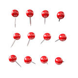 Red pushpin , various shapes Royalty Free Stock Image