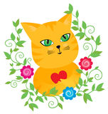 Red pussycat with a heart in floral frame Stock Image