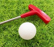 Red putter on the grass with the ball Royalty Free Stock Photos