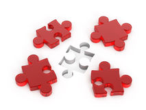 Red puzzle. Four Red puzzle on white Stock Photos