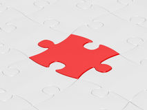 Red puzzle. White jigsaw puzzle assembly with one red puzzle Vector Illustration