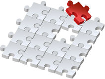 Red puzzle. Set of puzzles for game, combined picture with red puzzle, illustration Royalty Free Stock Image