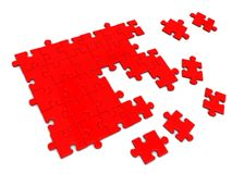 Red puzzle. 3d illustration of red puzzle construction over white background Royalty Free Stock Photography