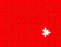 Red Puzzle background. One piece missed Royalty Free Stock Photos