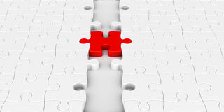 Red puzzle connection. Two puzzle parts connected with red jigsaw piece, concept particular person Royalty Free Stock Photo
