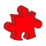 Red puzzle  3d vector symbol icon design. Beautiful illustration. Isolated on white background Stock Photography
