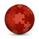 Red puzzle globe Stock Images