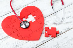 Free Red Puzzle Heart Stock Images - 54064914