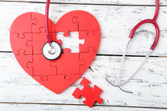 Free Red Puzzle Heart Stock Photography - 54363192