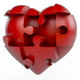Red puzzle heart. Red puzzle piece heart, heart divided into puzzle pieces, 3d rendering on white background Royalty Free Stock Photography