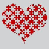 Red Puzzle Heart Pieces - JigSaw - Field Chess. Red Puzzle Heart Pieces - JigSaw - Vector Illustration. Vector Background. Field for Chess Royalty Free Stock Photo