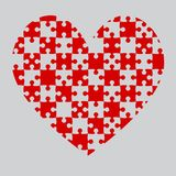 Red Puzzle Heart Pieces - JigSaw - Field Chess. Red Puzzle Heart Pieces - JigSaw - Vector Illustration. Vector Background. Field for Chess Stock Photography