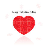 Red puzzle heart shape on  background Stock Images