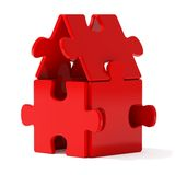 Red Puzzle Home. Puzzle home on whihe background Royalty Free Stock Images