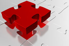 Red puzzle missing piece. Glossy 3d rendered red jigsaw puzzle stock illustration