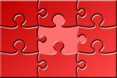 Red puzzle with missing piece. A red puzzle with missing piece Stock Images