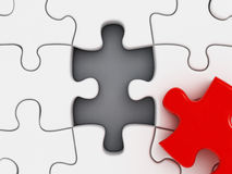 Red puzzle part missing Royalty Free Stock Image
