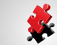 Red Puzzle Piece. Red jigsaw puzzle piece lifted from white background, three dimensional illustration Stock Photography