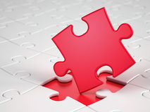 Red puzzle piece. 3d render Stock Images