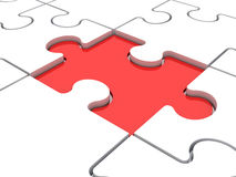 Red Puzzle Piece Lower Stock Photo