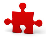 Red puzzle piece. On white background Stock Photos