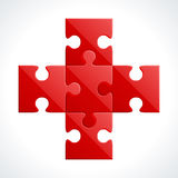 Red puzzle pieces. Interlocking red puzzle pieces on white background Stock Photography