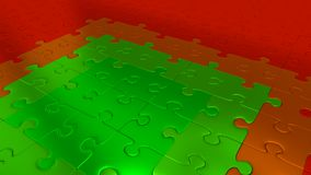 Red Puzzle Pieces on all other the floor becoming Green pieces. Some Red Puzzle Pieces on all other the floor becoming Green pieces Stock Photography