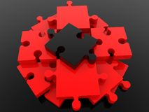 Red puzzle pieces with black puzzle piece at center. In background stock illustration