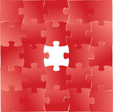 Red puzzle pieces graphic illustration design Royalty Free Stock Images