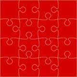 16 Red Puzzle Pieces - JigSaw - Vector. 16 Red Puzzle Pieces Arranged in a Square - JigSaw - Vector Illustration royalty free illustration