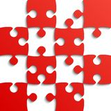 Red Puzzle Pieces - JigSaw - Field for Chess. Royalty Free Stock Images