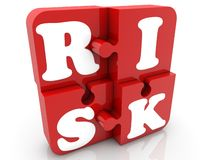 Red puzzle pieces with risk concept. In background vector illustration
