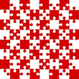 Red Puzzle Pieces - JigSaw Vector - Field Chess. Red Puzzle Pieces in a White Square - JigSaw - Vector Illustration. Vector Background. Field for Chess Stock Images