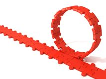 Red puzzle ring rotating over puzzle chain Royalty Free Stock Image