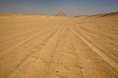 Red Pyramid on desert Royalty Free Stock Photography