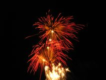 Red pyrotechnics royalty free stock images