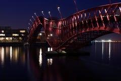 Red Python Bridge. Red Phython Bridge at East Harbor Islands, Amsterdam: night scenery Royalty Free Stock Image