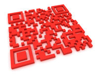 Red QR-code Stock Photo