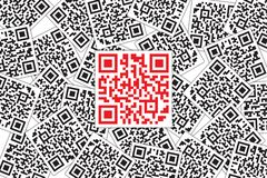 Red QR Code Highlight in Black QR Code in Background. Quick Response Code for Supermarket, E-commerce, Shop, store Etc vector illustration