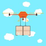 Red quadrocopter with cargo in the sky. Concept of fast shipping, innovative service and remote control toy. isolated on stylish background. flat style trendy Royalty Free Stock Photos