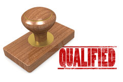 Red qualified wooded seal stamp Stock Image