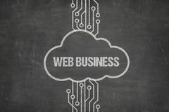Red que conecta con el texto del negocio del web en nube en la pizarra imágenes de archivo libres de regalías