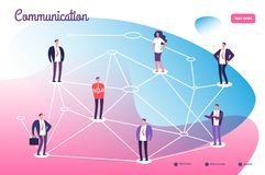 Red que conecta a gente profesional Conexión del trabajo en equipo de la comunicación global y vector de la tecnología del establ stock de ilustración