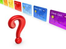 Red query mark and colorful credit cards. Royalty Free Stock Photos