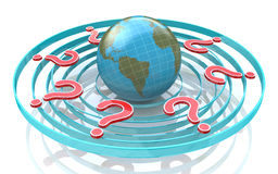 Red query marks around earth globe. Planet surrounded by questio Stock Photography