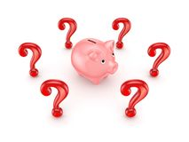Red query marks around pink piggy bank. Royalty Free Stock Photos