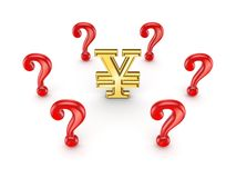 Red query marks around yen sign. Stock Photos