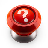 Red question button. Red button which question mark (3d render Stock Image
