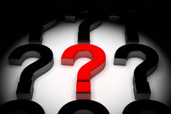 Red question mark. A red question mark between oters black Stock Photos