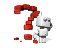 Red question mark. A 3D-rendered question mark, with a robot royalty free illustration
